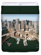Boston Harbor And Boston Skyline Duvet Cover