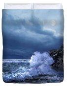 Boston Harbor Lighthouse Moonlight Scene Duvet Cover