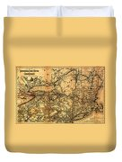 Boston Hoosac Tunnel And Western Railway Map 1881 Duvet Cover