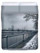 Boston Longfellow Bridge-snow Cityscape Duvet Cover