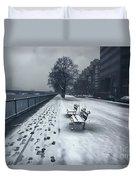 Boston Longfellow Bridge-snow Cityscape V2 Duvet Cover