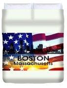 Boston Ma Patriotic Large Cityscape Duvet Cover