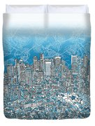 Boston Panorama Abstract 2 Duvet Cover
