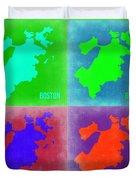 Boston Pop Art Map 2 Duvet Cover by Naxart Studio
