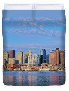 Boston Skyline And Harbor, Massachusetts Duvet Cover