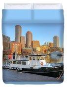 Boston Skyline And Thompson Island Ferry I Duvet Cover
