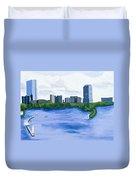 Boston Skyline Duvet Cover by Carmela Cattuti