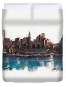 Boston Skyline  Number 1 Duvet Cover