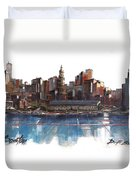 Boston Skyline  Number 3 Duvet Cover