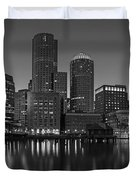 Boston Skyline Seaport District Bw Duvet Cover