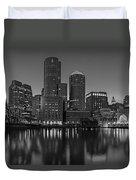 Boston Skyline Seaport District Bw Duvet Cover