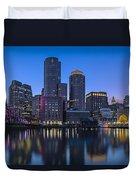 Boston Skyline Seaport District Duvet Cover