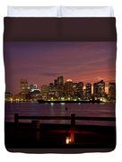 Boston Skyline Sunset Duvet Cover