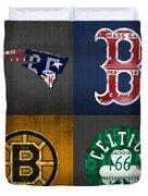 Boston Sports Fan Recycled Vintage Massachusetts License Plate Art Patriots Red Sox Bruins Celtics Duvet Cover