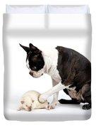 Boston Terrier & Mink Rat Duvet Cover