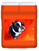 Boston Terrier Dog Painting Prints Duvet Cover