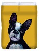 Boston Terrier On Yellow Duvet Cover
