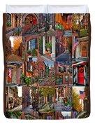 Boston Tourism Collage Duvet Cover