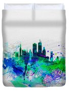 Boston Watercolor Skyline Duvet Cover