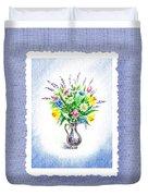 Botanical Impressionism Watercolor Bouquet Duvet Cover