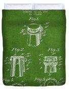 Bottle Cap Fastener Patent Drawing From 1907 - Green Duvet Cover