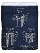 Bottle Cap Fastener Patent Drawing From 1907 - Navy Blue Duvet Cover