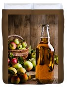 Bottled Cider With Apples Duvet Cover