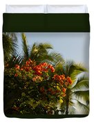 Bougainvilleas And Palm Trees Swaying In The Wind In Waikiki Honolulu Hawaii Duvet Cover