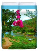 Bouganvilla Watches Over Village Fishing Boats Duvet Cover