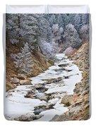 Boulder Creek Frosted Snowy Portrait View Duvet Cover