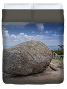 Boulder On Top Of Cadilac Mountain In Acadia National Park Duvet Cover