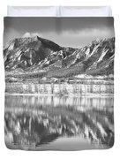 Boulder Reservoir Flatirons Reflections Boulder Co Bw Duvet Cover