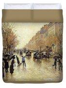 Boulevard Poissonniere In The Rain, C.1885 Oil On Canvas Duvet Cover