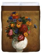Bouquet Of Flowers In A White Vase Duvet Cover
