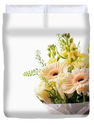 Bouquet Of Flowers On White Background Duvet Cover