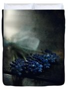 Bouquet Of Grape Hyiacints On The Dark Textured Surface Duvet Cover