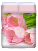 Bouquet Of Pink Tulips. Duvet Cover
