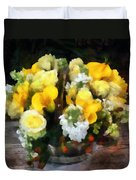 Bouquet With Roses And Calla Lilies Duvet Cover