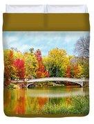 Bow Bridge Autumn In Central Park  Duvet Cover
