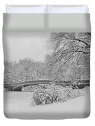 Bow Bridge In Central Park During Snowstorm Bw Duvet Cover by Susan Candelario