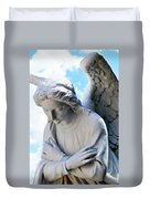 Bowing Male Angel With Blue Sky And Clouds Duvet Cover
