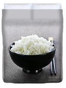 Bowl Of Rice With Chopsticks Duvet Cover by Elena Elisseeva