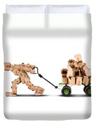 Box Character Moving Boxes On Trolley Duvet Cover