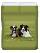 Boxer And Border Collie Duvet Cover
