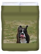 Boxer Licking His Chops Duvet Cover