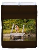 Boxer On Lake Dock Duvet Cover
