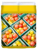 Boxes Of Cherry Tomatoes On Display Duvet Cover