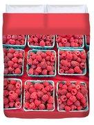 Boxes Of Fresh Red Raspberries Duvet Cover