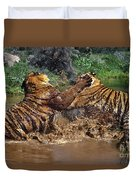 Boxing Bengal Tigers Wildlife Rescue Duvet Cover