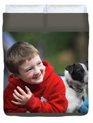 Boy, Age 6, Smiling With Jack Russell Duvet Cover